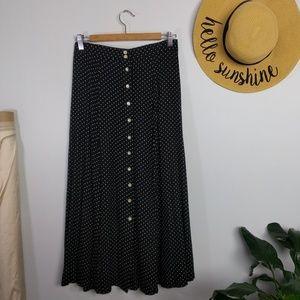 Vintage 90s Button Front Polka Dot Maxi Skirt L
